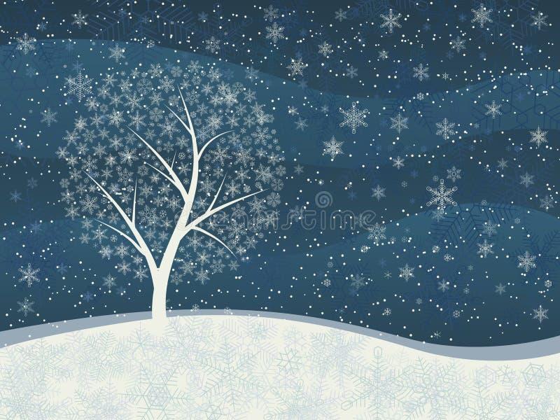Tarjeta del invierno de nevadas con el árbol nevoso. ilustración del vector