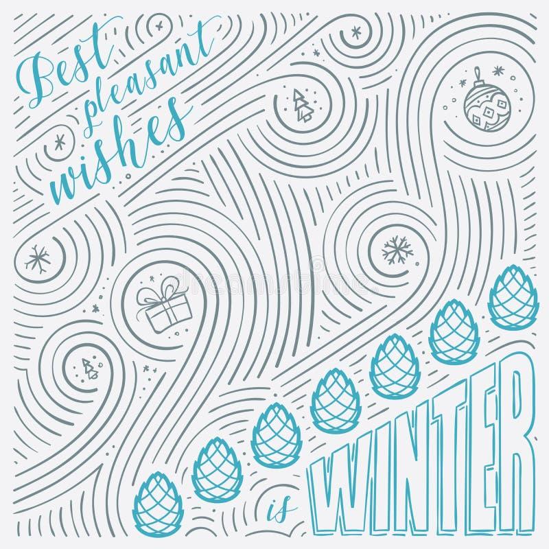 Tarjeta del invierno Las letras - los mejores deseos agradables son invierno Diseño del Año Nuevo/la Navidad Modelo manuscrito de stock de ilustración