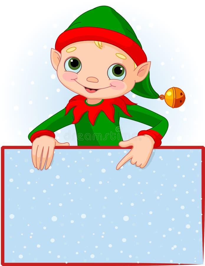 Tarjeta del lugar del duende de la Navidad stock de ilustración