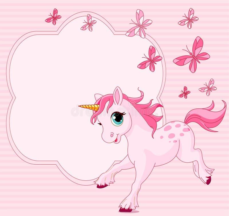 Tarjeta del lugar del unicornio del bebé stock de ilustración
