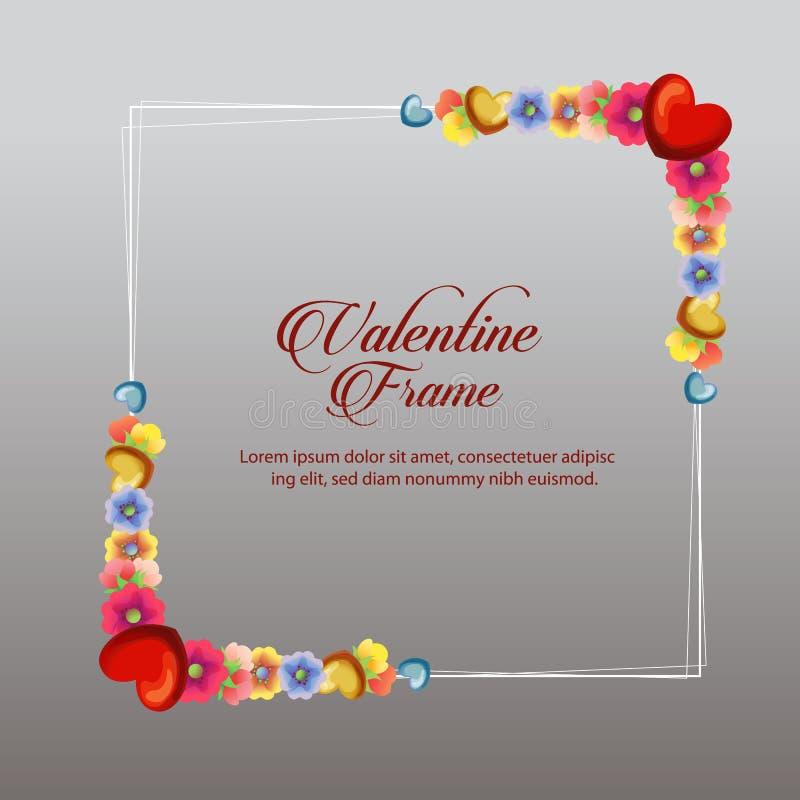 Tarjeta del marco de la tarjeta del día de San Valentín del flor libre illustration
