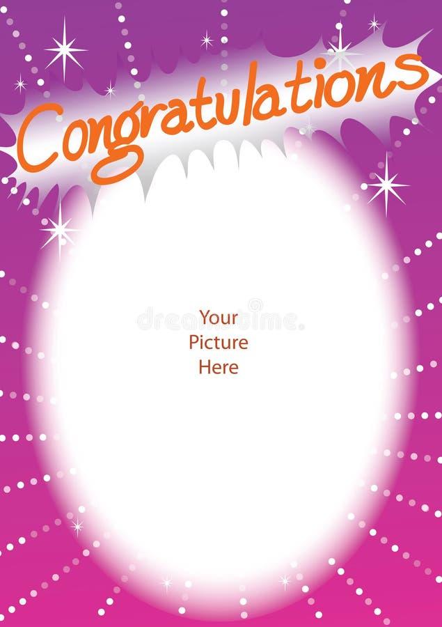 Tarjeta del marco de la enhorabuena ilustración del vector