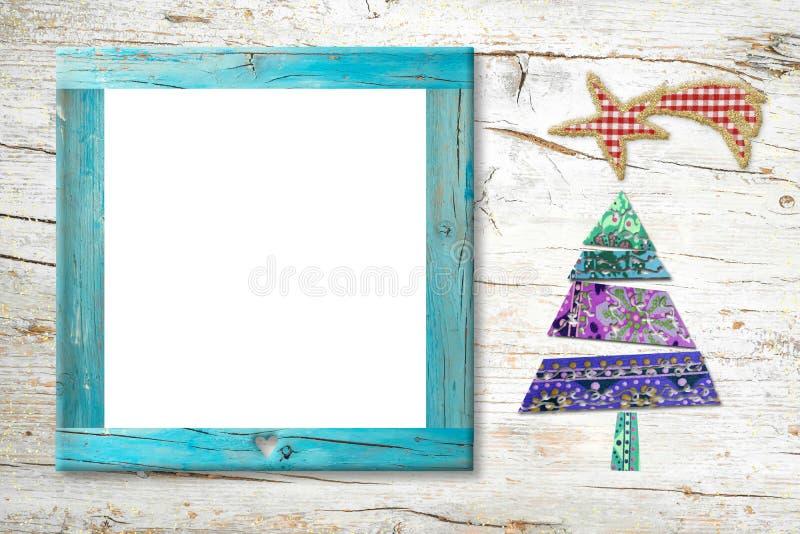 Tarjeta del marco de la foto de la natividad de Navidad imagen de archivo