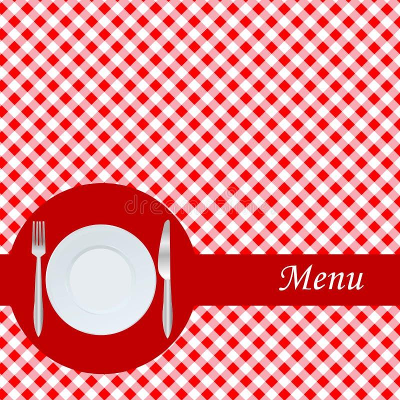 Tarjeta del menú con la placa, la fork y el cuchillo ilustración del vector