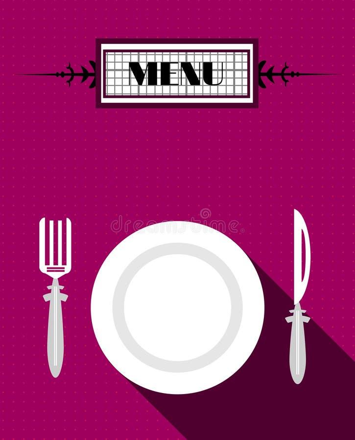 Tarjeta del menú con la placa y bifurcación y cuchillo blancos, stock de ilustración