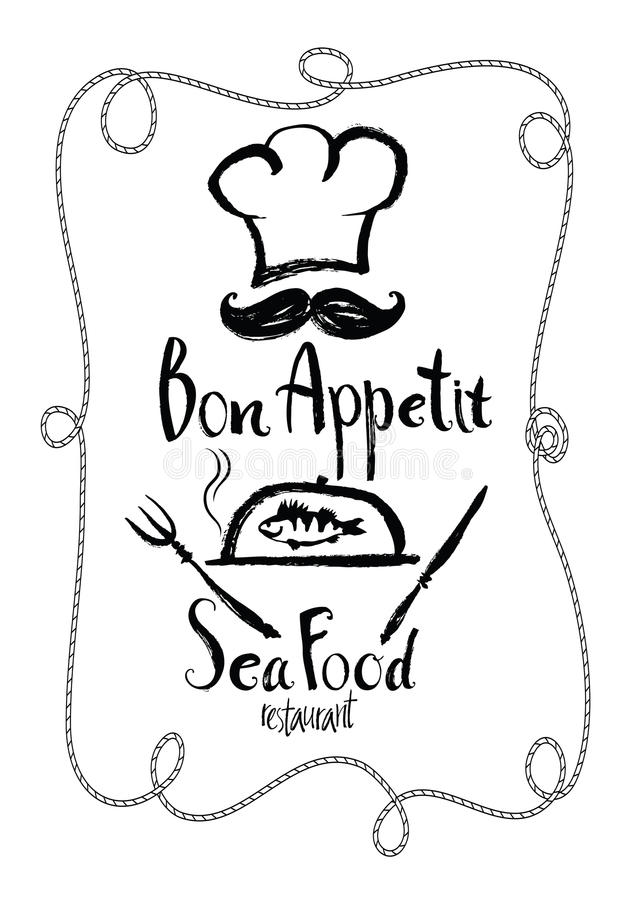 Tarjeta del menú del restaurante de Bon Appetit Sea Food libre illustration