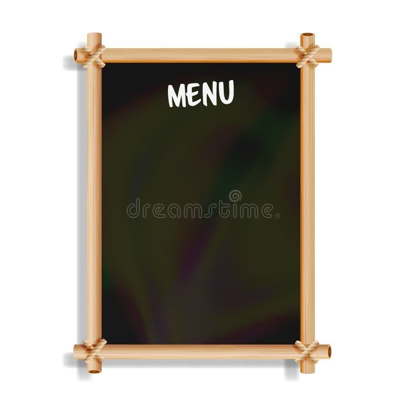 Tarjeta del menú Tablero del negro del café o del boletín del menú del restaurante Aislado en el fondo blanco Pizarra negra reali ilustración del vector