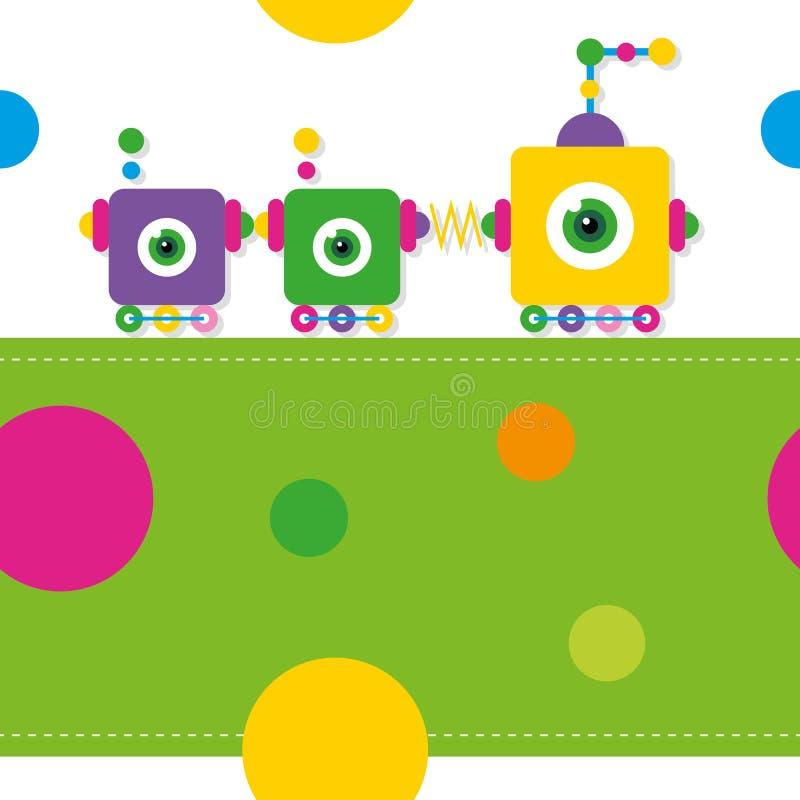 Tarjeta del modelo/de felicitación de los robots del tren ilustración del vector