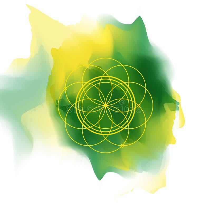 Tarjeta del ornamento con geometría sagrada libre illustration