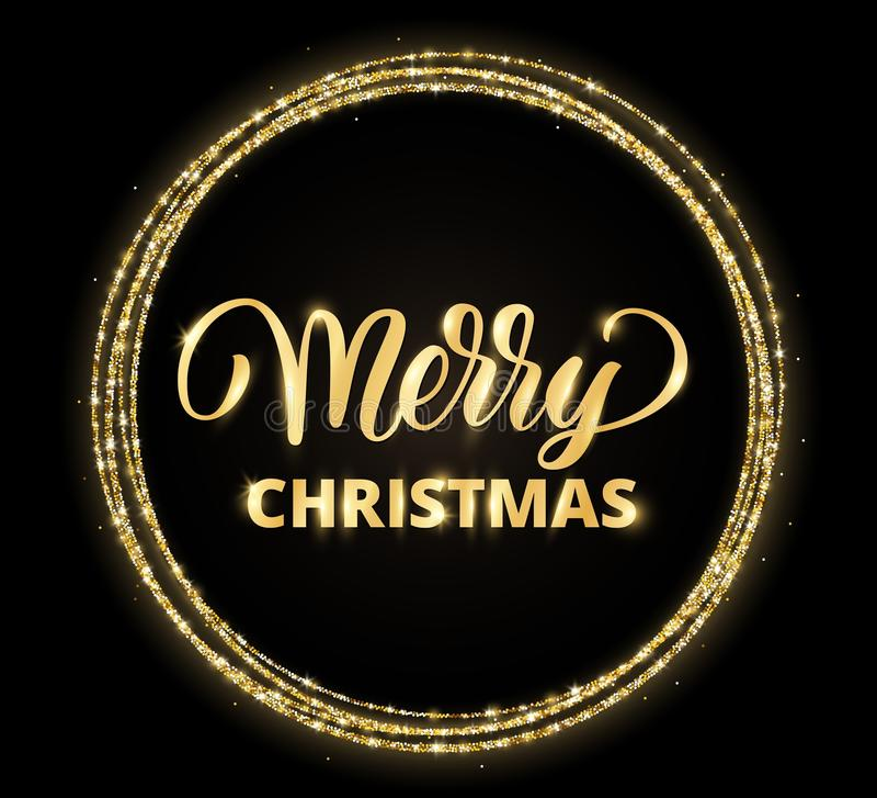 Tarjeta del oro y de la Feliz Navidad del negro con las letras dibujadas mano stock de ilustración