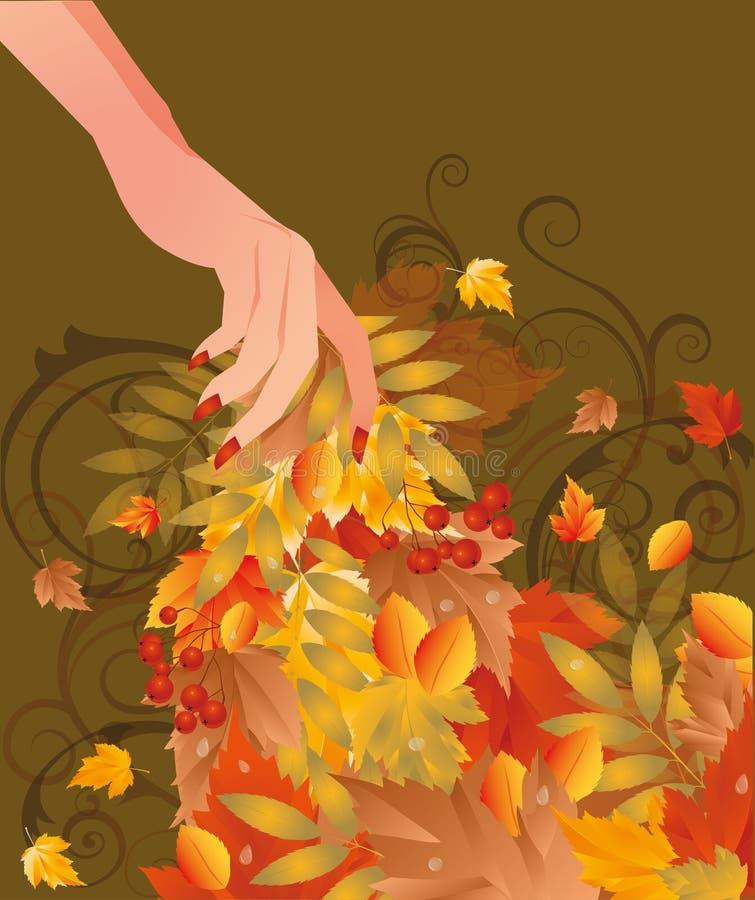 Tarjeta del otoño con la mano femenina ilustración del vector
