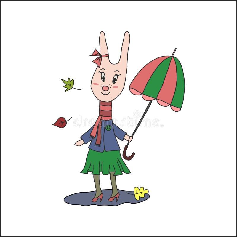 Tarjeta del otoño del vintage con el conejo lindo ilustración del vector