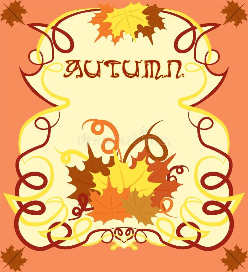 Tarjeta del otoño en estilo del art nouveau, libre illustration