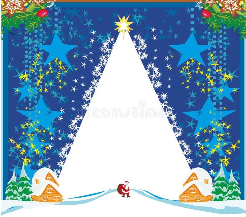 Tarjeta del paisaje del invierno con Papá Noel ilustración del vector