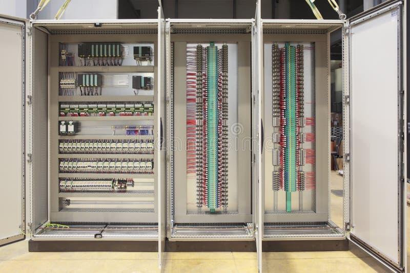 Tarjeta del panel del Plc y de las barreras foto de archivo