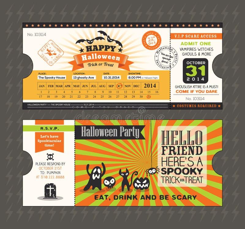 Tarjeta del partido de Halloween en estilo del paso del boleto de tren stock de ilustración