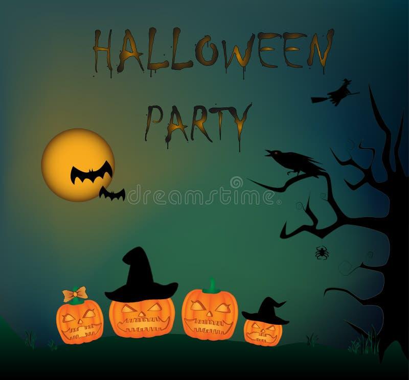Tarjeta del partido de Halloween siluetas de una familia de calabazas, de árbol, de cuervos, de búho, de bruja, de palos, de arañ ilustración del vector