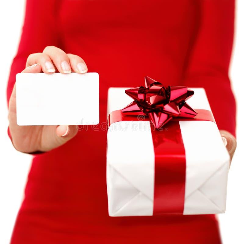 Tarjeta del regalo de Navidad y del regalo imagenes de archivo