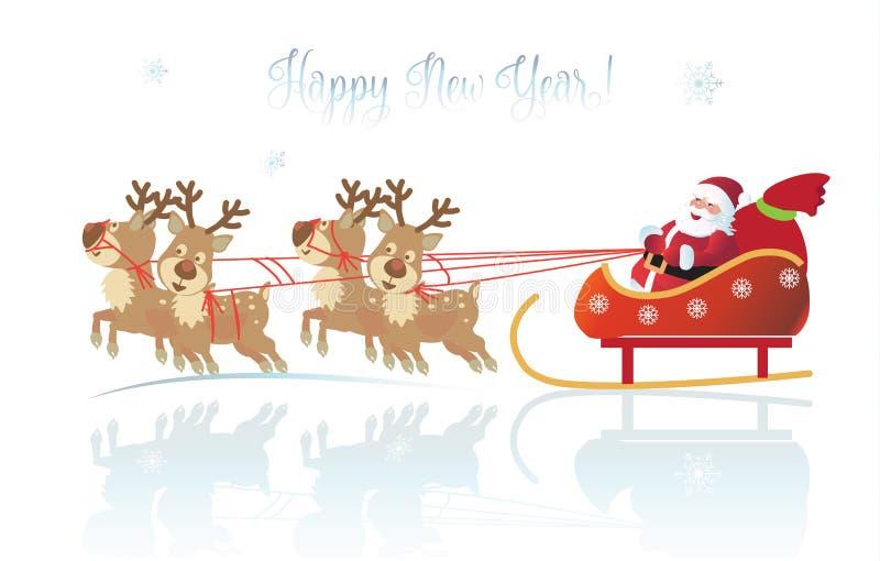 Tarjeta del reno de la Navidad de Santa Clous Winter Holiday stock de ilustración