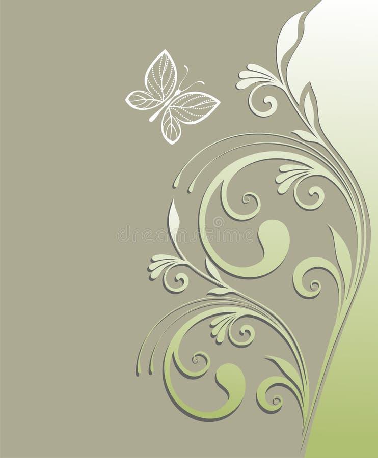 Tarjeta del resorte con la mariposa libre illustration