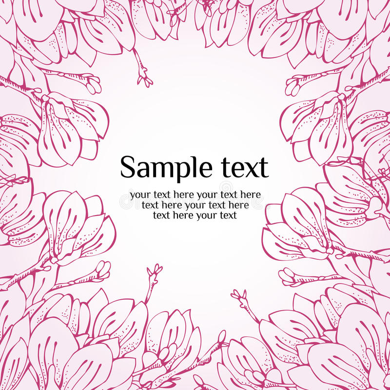 Tarjeta del resorte de la flor de la magnolia libre illustration