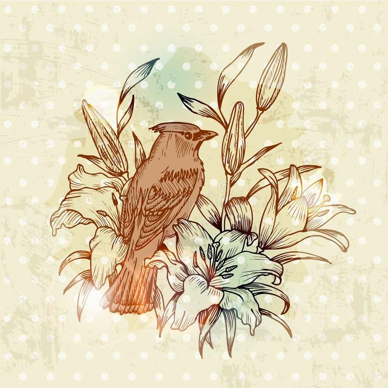 Tarjeta del resorte de la vendimia con el pájaro ilustración del vector
