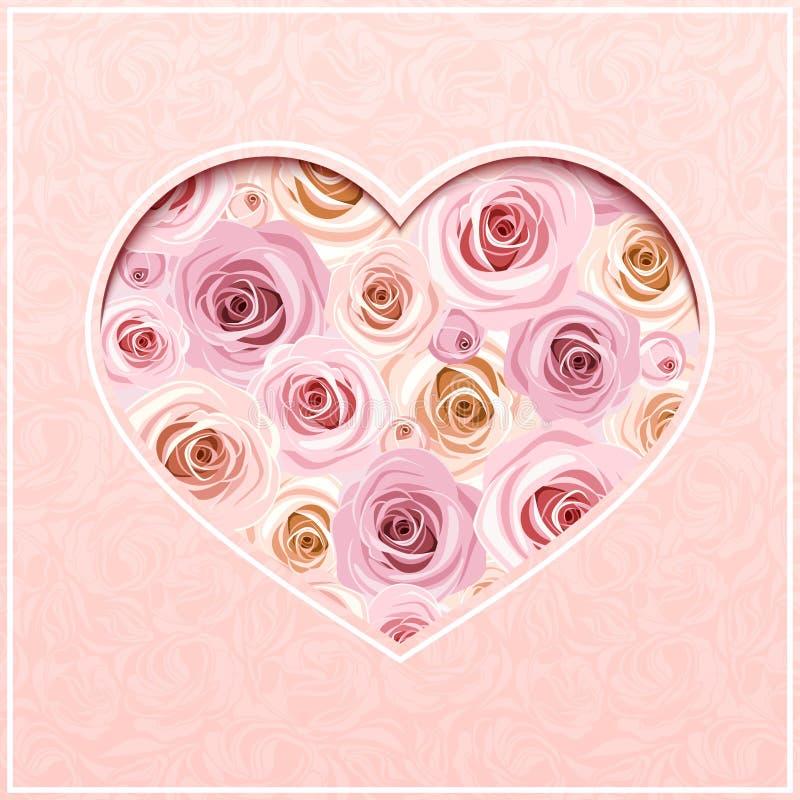Tarjeta del rosa del día de tarjeta del día de San Valentín con las rosas Vector EPS-10 ilustración del vector