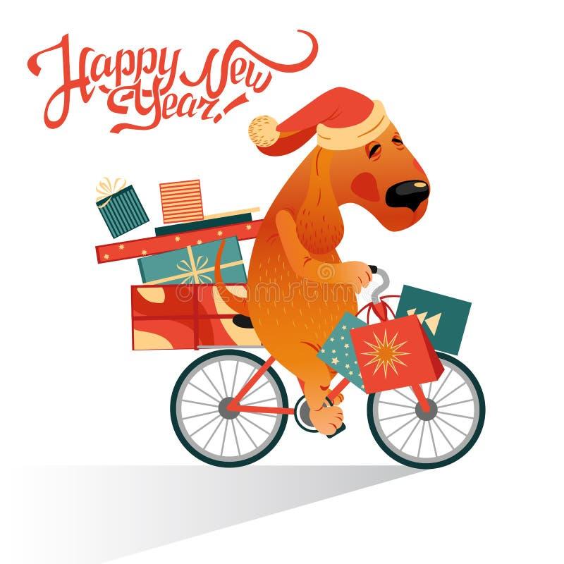 Tarjeta del ` s del Año Nuevo con el perro divertido en una bicicleta con regalos stock de ilustración