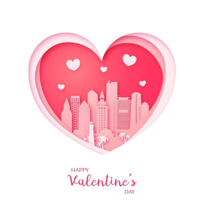 Tarjeta del `s de la tarjeta del día de San Valentín Corazón del corte del papel y ciudad de Miami libre illustration
