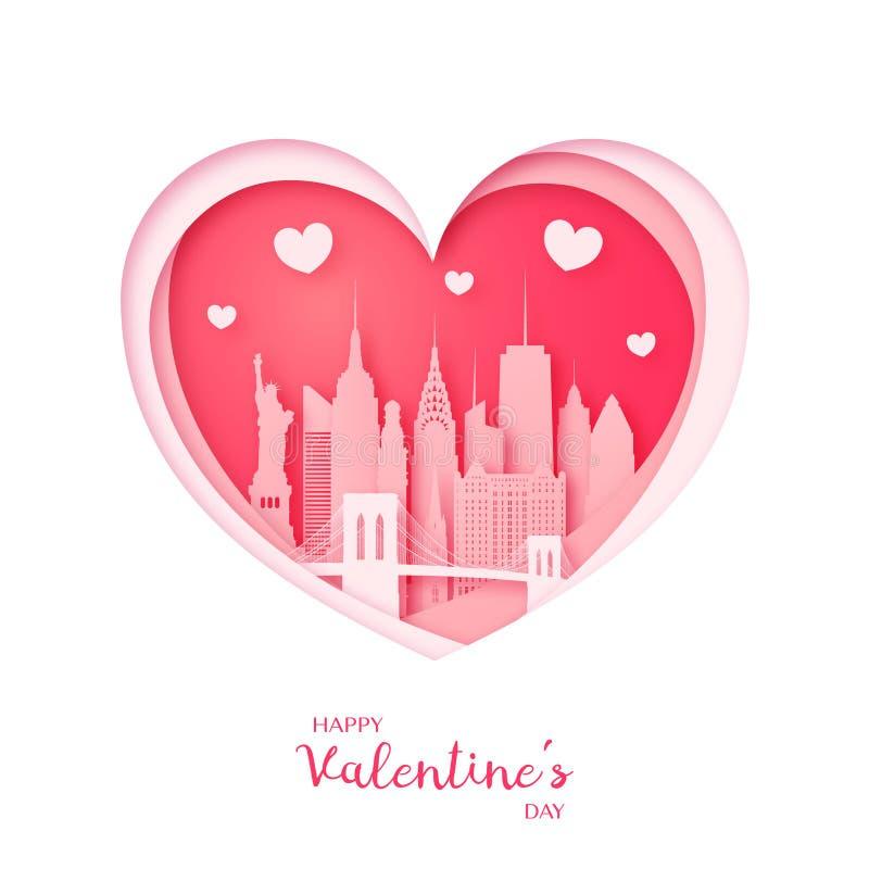 Tarjeta del `s de la tarjeta del día de San Valentín Corazón y la ciudad de Nueva York del corte del papel libre illustration
