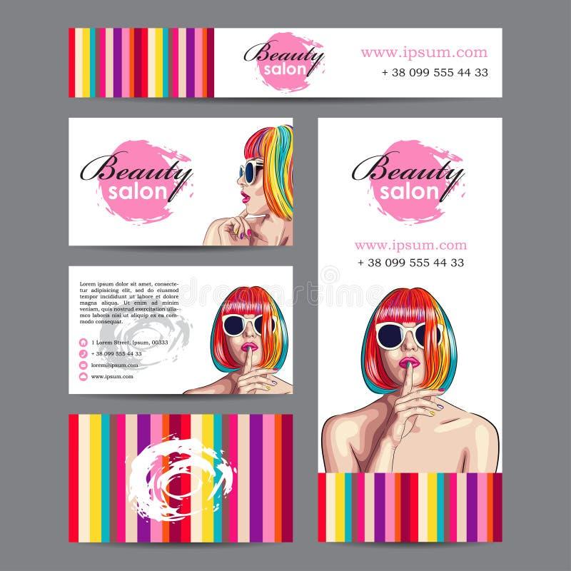 tarjeta del salón de belleza con la mujer que lleva la peluca colorida ilustración del vector