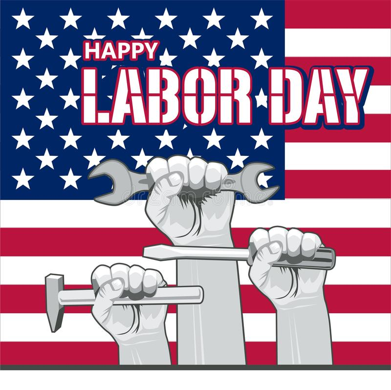 Tarjeta del saludo o de la invitación del Día del Trabajo del vector Ejemplo americano nacional del día de fiesta con la bandera  stock de ilustración