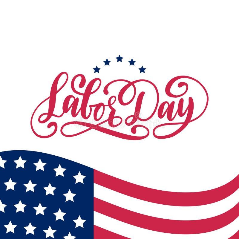 Tarjeta del saludo o de la invitación del Día del Trabajo del vector Ejemplo americano del día de fiesta con la bandera de los E. stock de ilustración
