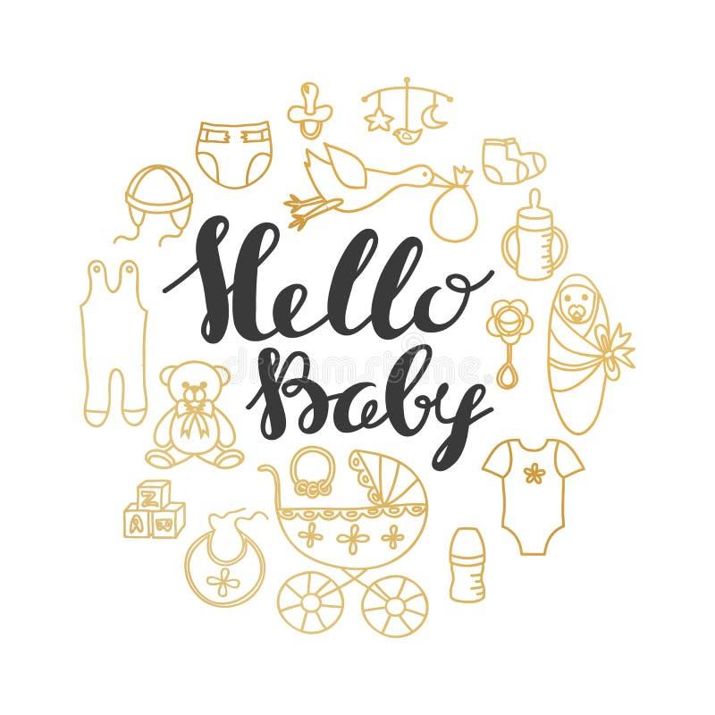 Tarjeta del saludo y de la invitación de la celebración de la fiesta de bienvenida al bebé con las letras de la mano libre illustration