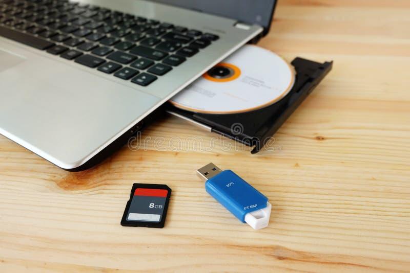 Tarjeta del SD, memoria USB USB3 0 y escritor Burner Reader de la impulsión del DVD del CD del ordenador portátil en fondo de mad imagen de archivo libre de regalías