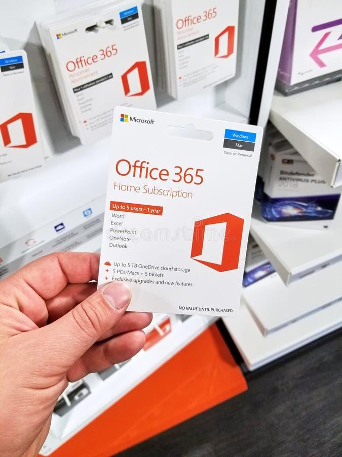 Tarjeta del subscribtion del hogar de Microsoft Office 365 foto de archivo libre de regalías