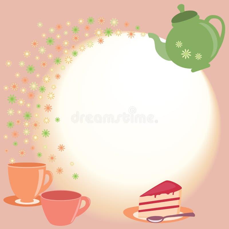 Tarjeta del té con la tetera, las tazas y las flores libre illustration