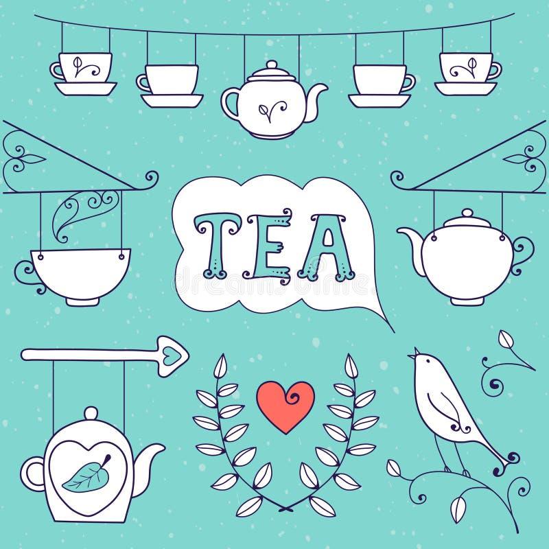 Tarjeta del té. Sistema de los elementos para el diseño. stock de ilustración
