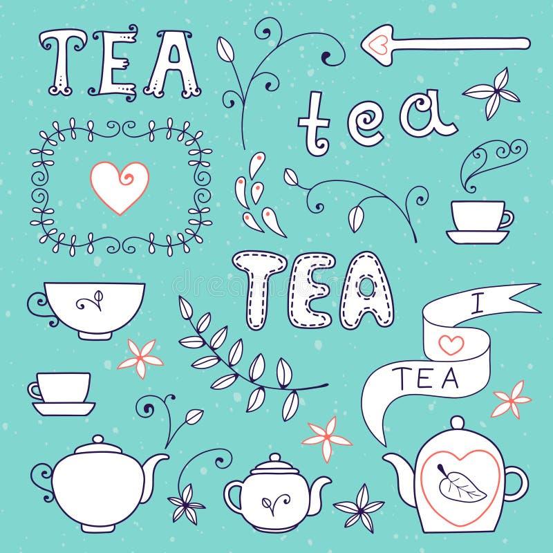 Tarjeta del té. Sistema de los elementos para el diseño. ilustración del vector