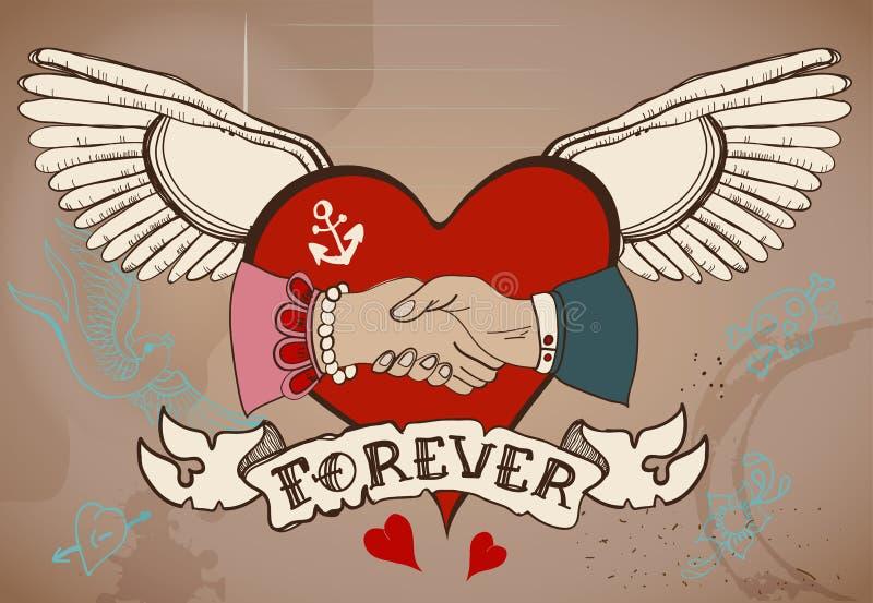 tarjeta del tatuaje del estilo de la Viejo-escuela con el apretón de manos del corazón, del hombre y de la mujer stock de ilustración