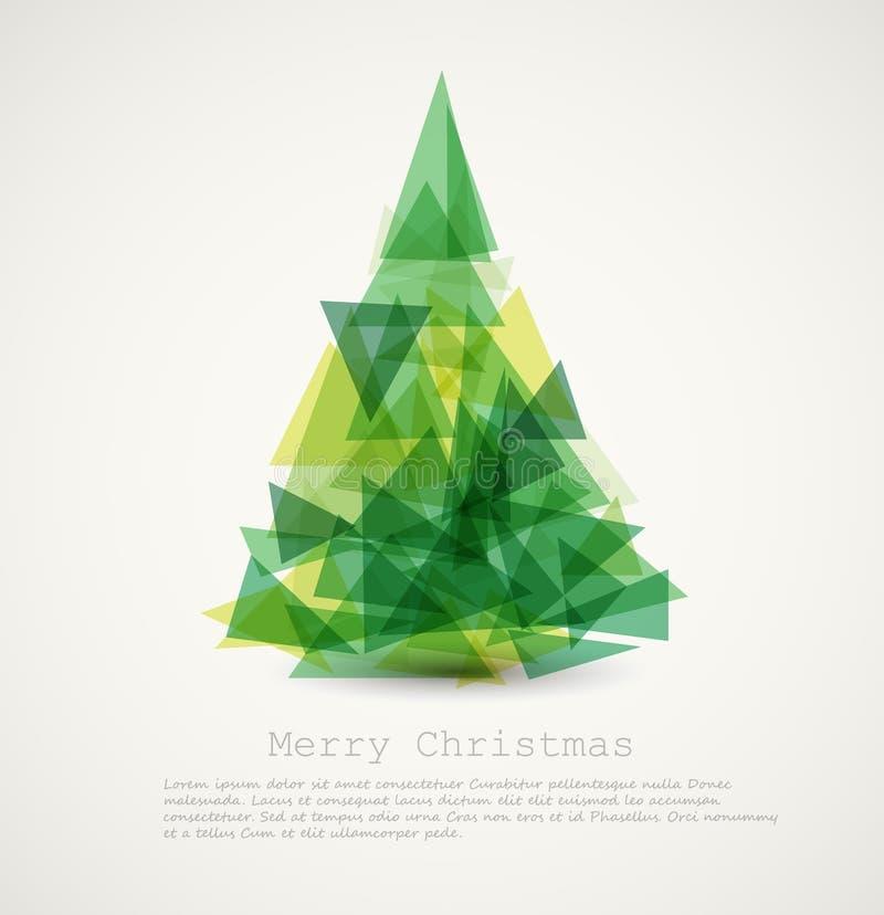 Tarjeta del vector con el árbol de navidad verde abstracto stock de ilustración