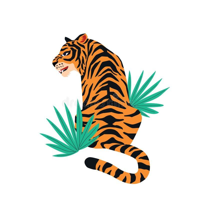Tarjeta del vector con el tigre lindo en el fondo blanco y las hojas tropicales Diseño hermoso del estampado de animales para la  ilustración del vector