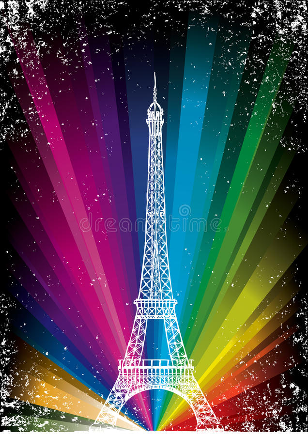 Tarjeta del vector con la torre Eiffel ilustración del vector