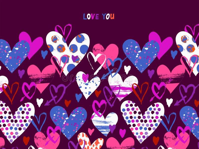 Tarjeta del vector con los corazones exhaustos de la mano para el día de San Valentín fotos de archivo