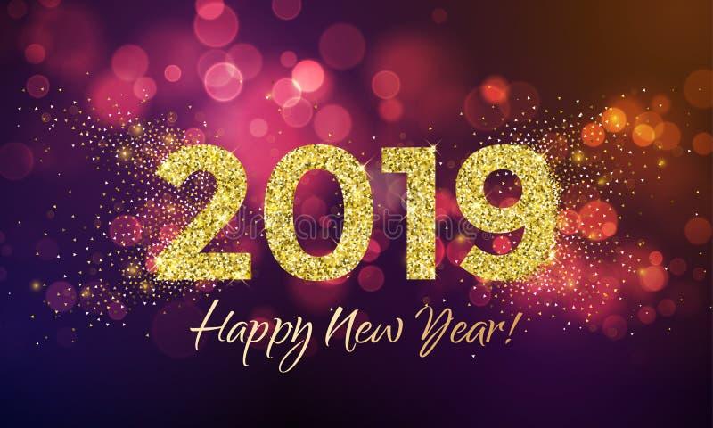 Tarjeta del vector del confeti del brillo de la Feliz Año Nuevo 2019 ilustración del vector