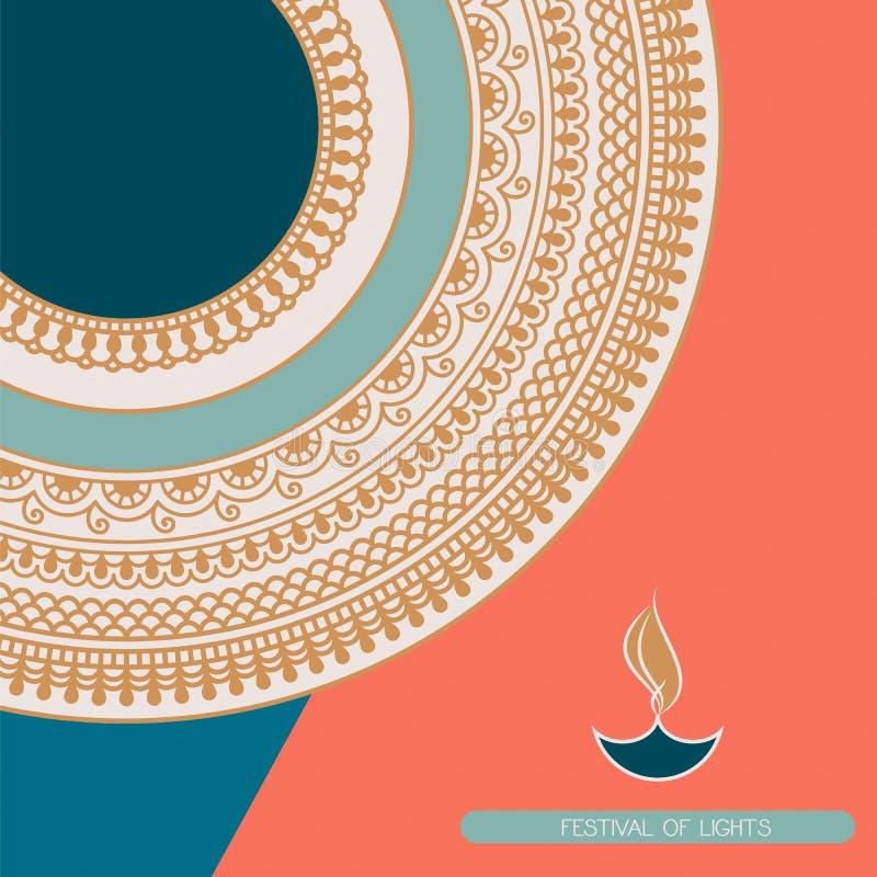 Tarjeta del vector de Diwali con símbolo indio de los ornamentos y de la lámpara de aceite diseño para las tarjetas, carteles, im ilustración del vector