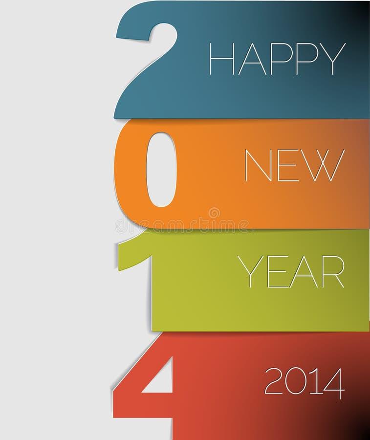 Tarjeta del vector de la Feliz Año Nuevo 2014 ilustración del vector