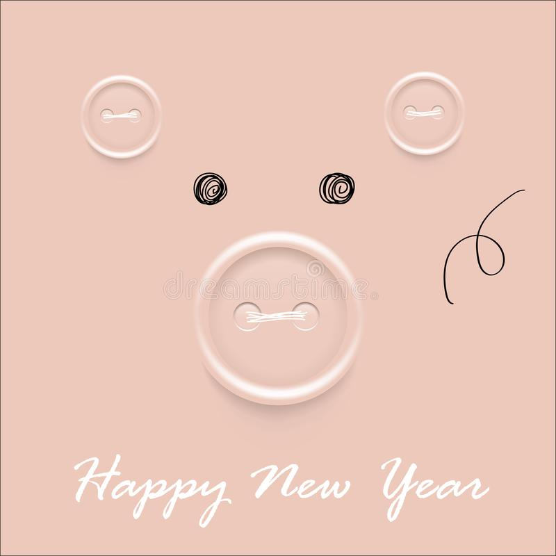 Tarjeta del vector de la Feliz Año Nuevo 2019/bandera de saludo hechas a mano con los botones de costura, el año de cerdo en cale ilustración del vector