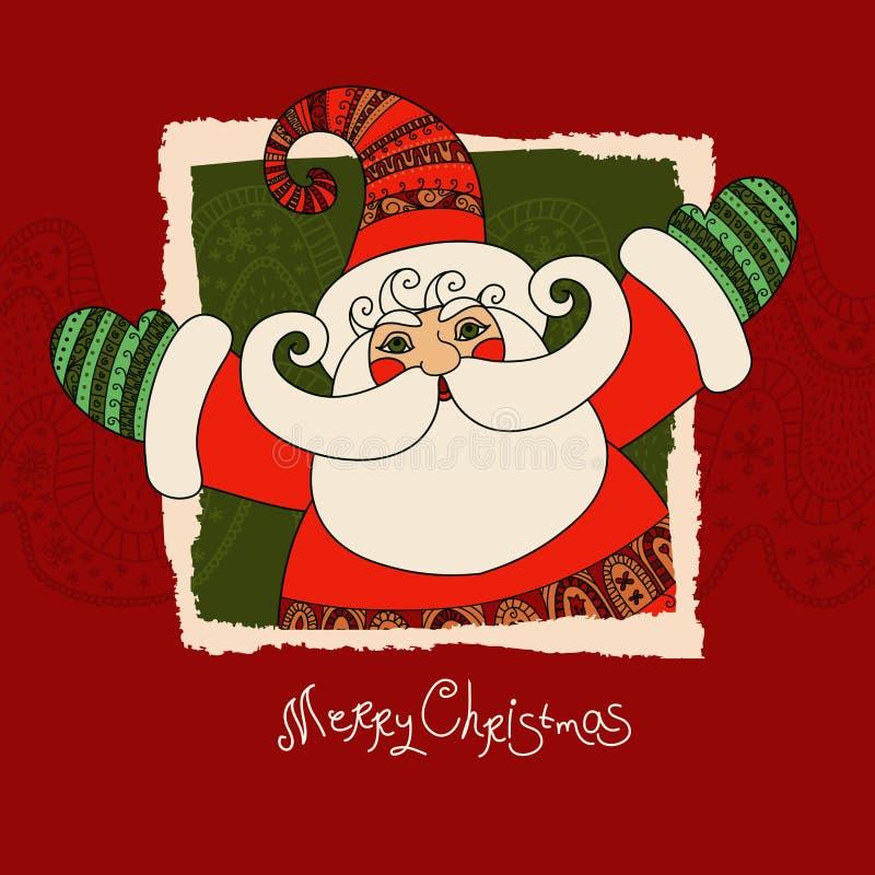 Tarjeta del vector de la Feliz Navidad con Santa Claus San lindo y feliz ilustración del vector