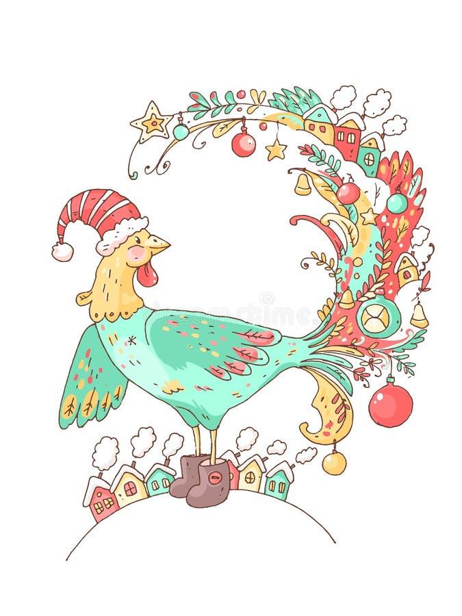 Tarjeta del vector del Año Nuevo con el gallo lindo las decoraciones libre illustration